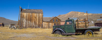 Panorama of an old rusty car in Bodie Royalty Free Stock Photo