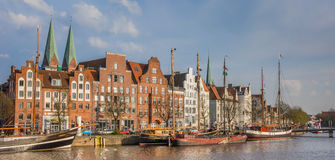 Panorama of old ships at the quay in Lubeck. Germany Royalty Free Stock Photos
