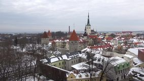 Panorama of the old Tallinn, cloudy March day. Estonia. Panorama of the old Tallinn, cloudy March day, Estonia stock video