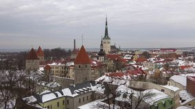 Panorama of old Tallinn, gloomy March day. Estonia. Panorama of old Tallinn, gloomy March day, Estonia stock footage