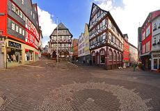 Panorama with old timbered houses Royalty Free Stock Photo