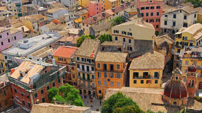 Panorama of old town. Panorama of old  mediterranean town,corfu Stock Photo
