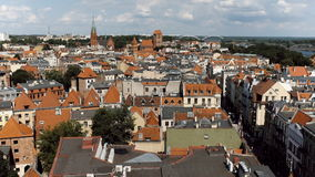 Panorama of the old town area in Torun, Poland. The old town of Torun, Poland is shown with its distinct Eastern Europe architecture.  Taken on a summer day with Royalty Free Stock Image