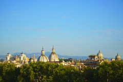 Panorama of old town in city of Rome, Italy. Stock Photos