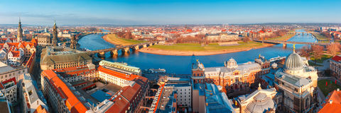 Panorama of Old town and Elbe, Dresden, Germany Stock Images