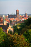 Panorama of old town in Gdansk. Old town of Gdansk with historic buildings, Poland Royalty Free Stock Photo