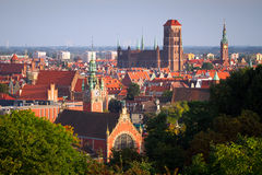 Panorama of old town in Gdansk. Old town of Gdansk with historic buildings, Poland Royalty Free Stock Photography