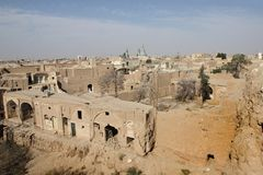 The panorama of the old town in Kashan city, Iran. Kashan is a city of Isfahan, Iran. There are many sites of potential interest to tourists in Old City of Stock Photo