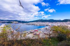 Panorama of Old town of Kavala, East Macedonia and Thrace, Greece royalty free stock photography