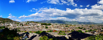 Panorama of Old Town  Lijiang. The panorama of Old Town Lijiang, under the blue sky and white clouds Royalty Free Stock Photos
