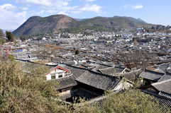 Panorama of the Old Town of Lijiang Stock Photos