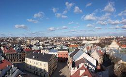 Panorama of old town of Lublin, Poland Royalty Free Stock Photo