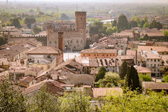 Panorama of the old town of Marostica famous for the Chess Squar Royalty Free Stock Image