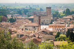 Panorama of the old town of Marostica famous for the Chess Squar Stock Photo