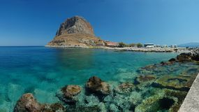 Panorama of old town Monemvasia ,Peloponnese Royalty Free Stock Image