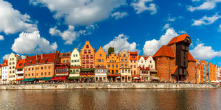 Panorama of Old Town and Motlawa in Gdansk, Poland Royalty Free Stock Images