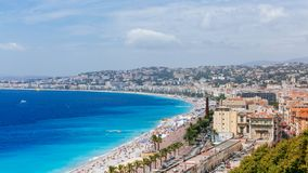 Panorama of the old town of Nice, France, next to Promenade des stock images