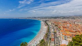 Panorama of the old town of Nice, France, next to Promenade des. Panoramic view of the old town of Nice, France, next to Promenade des Anglais, by the blue sea royalty free stock photo