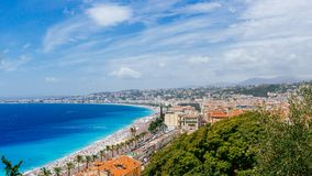 Panorama of the old town of Nice, France, next to Promenade des. Panoramic view of the old town of Nice, France, next to Promenade des Anglais, by the blue sea royalty free stock images