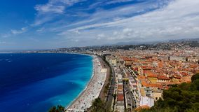 Panorama of the old town of Nice, France, next to Promenade des. Panoramic view of the old town of Nice, France, next to Promenade des Anglais, by the blue sea stock photo