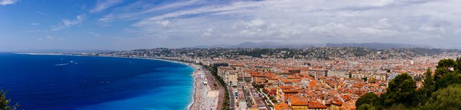 Panorama of the old town of Nice, France, next to Promenade des. Panoramic view of the old town of Nice, France, next to Promenade des Anglais, by the blue sea royalty free stock photography