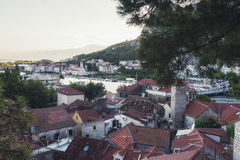 Panorama of Old Town of Omis town in Croatia stock images