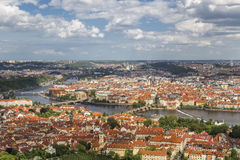 Panorama of the old town with the Petrin Tower Royalty Free Stock Photos