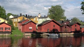 Panorama of the old town of Porvoo in the cloud evening in june. Finland stock footage