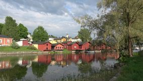 Panorama of the old town of Porvoo in the cloud evening in june. Finland stock video footage
