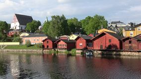 Panorama of the old town of Porvoo in the evening in june. Finland stock video