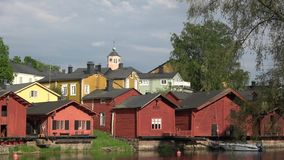 Panorama of the old town of Porvoo. June evening under stormy skies. Finland stock video footage