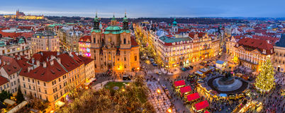 Panorama of Old Town of Prague at Christmas time. Royalty Free Stock Image