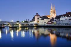 Panorama of old town Regensburg Stock Photos
