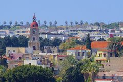 Panorama of Old town of Rhodes, Greece Royalty Free Stock Photo