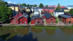 Panorama of the old town from the river Porvoonjoki. Porvoo, Finland stock footage