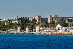 Panorama of the Old Town from the sea. Rhodes Island. Greece Royalty Free Stock Photography