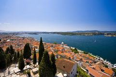 Panorama of old town Sibenik, St.James and the cha Stock Image