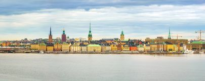 Panorama of the Old Town Stockholm Royalty Free Stock Photos