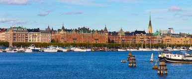 Panorama of the Old Town in Stockholm, Sweden Royalty Free Stock Photo