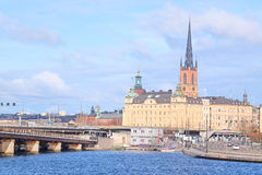 Panorama of an old town of Stockholm, Sweden Royalty Free Stock Photos