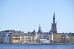 Panorama of an old town of Stockholm Stock Photography