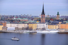 Panorama of Old Town of Stockholm Stock Photos