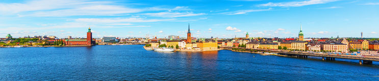 Panorama of the Old Town of Stockholm, Sweden Stock Photos