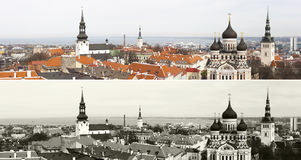 Panorama of the Old Town of Tallinn, Estonia royalty free stock images
