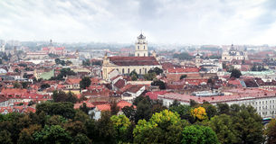 Panorama old town of Vilnius Stock Image