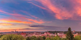 Panorama of Old town, Vilnius, Lithuania royalty free stock photos