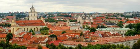 Panorama old town of Vilnius, summer season. Stock Images