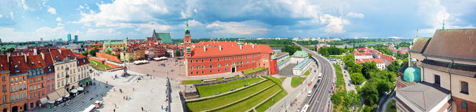 Panorama of the old town in Warsaw, Poland Royalty Free Stock Photography