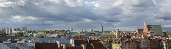 Panorama of Old Town in Warsaw, Poland Royalty Free Stock Image