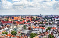 Panorama of the old town in Wroclaw Royalty Free Stock Image